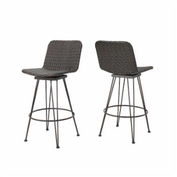 Best Selling Home Torrey Wicker Patio Bar Stools - Set of 2