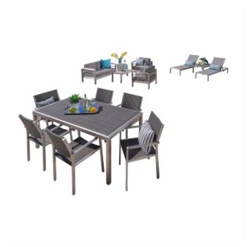 Home Cape Coral Wicker 13 Piece Patio Dining and Conversation Set with Chaise Lounges