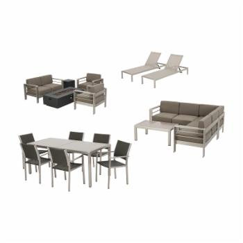 Home Cape Coral Aluminum 18 Piece Fire Pit Patio and Glass Top Dining Set