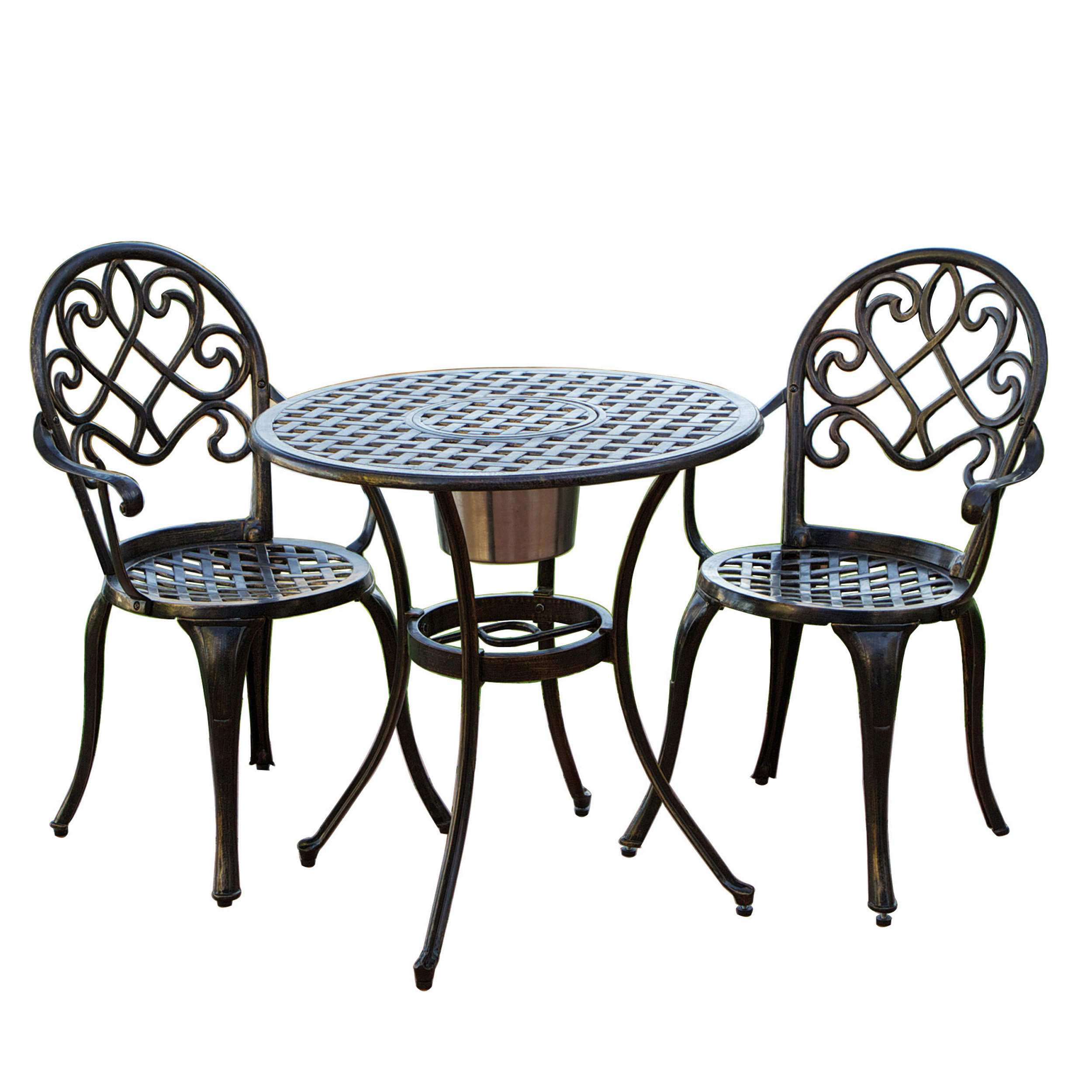 cast aluminum brown bistro set with ice bucket patio dining sets at hayneedle