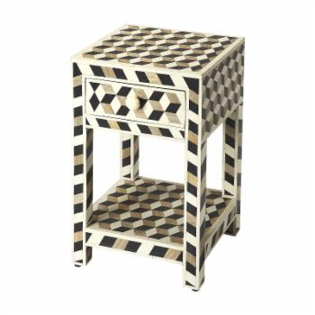 Butler Specialty Lamar Wood and Bone Inlay End Table