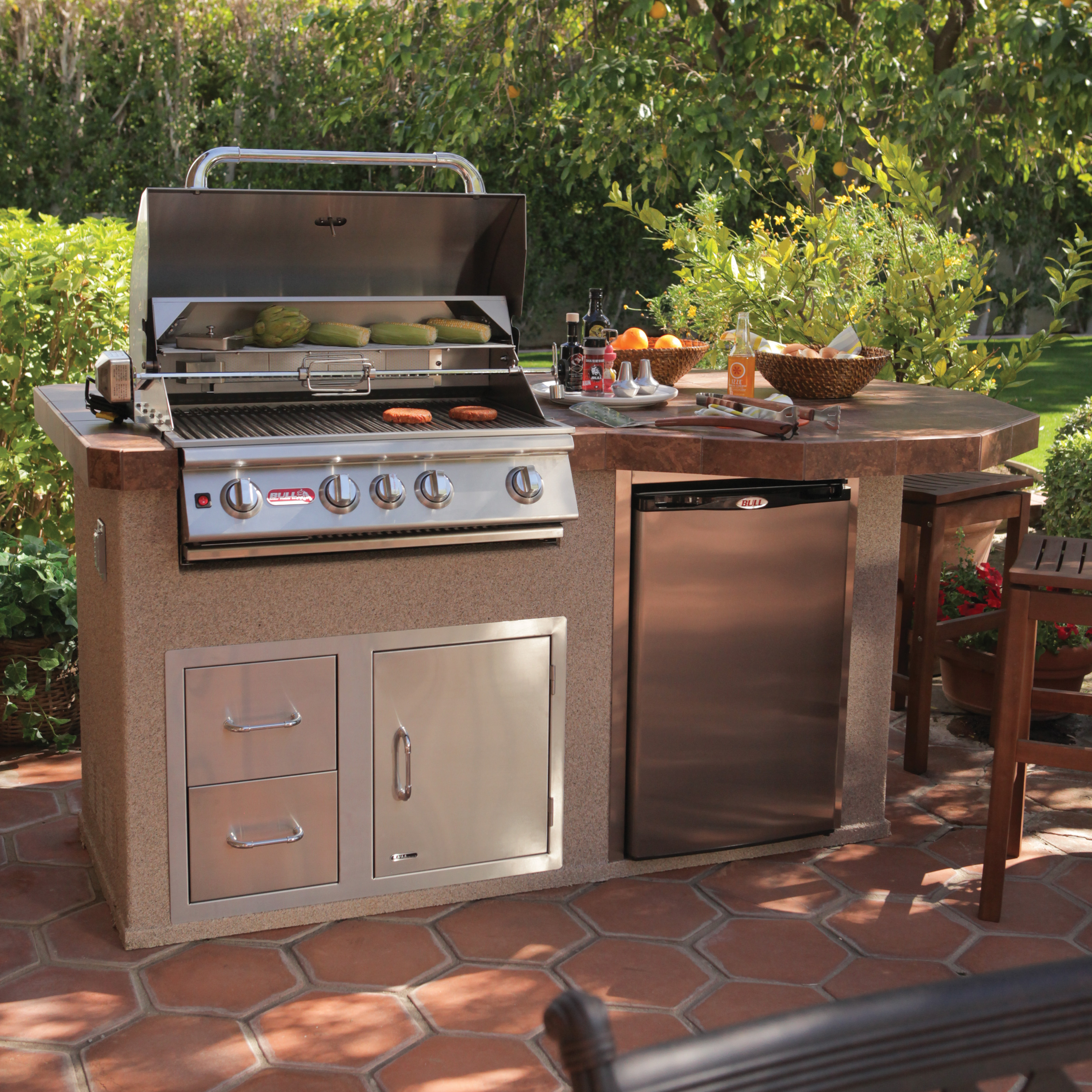 Outdoor Barbecue Kitchen Designs Bull Rodeo Q Grill Island Outdoor Kitchens At Hayneedle