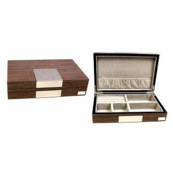Bey-Berk High Gloss Lacquered Valet Box - Ash Finish - 9.75W x 2.5H in.