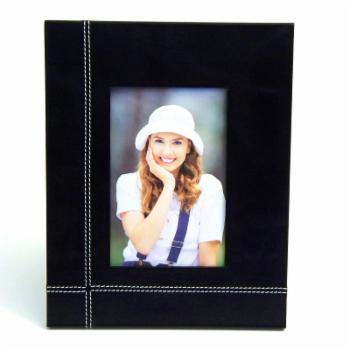 Bey-Berk Black Leather 4 x 6 in. Picture Frame
