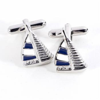 Bey-Berk Rhodium-Plated Blue and White Cufflinks with Sail Boat Design