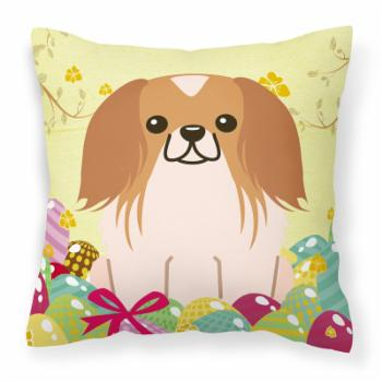 Carolines Treasures Easter Eggs Pekingnese Square Polyester Canvas Decorative Outdoor Pillow