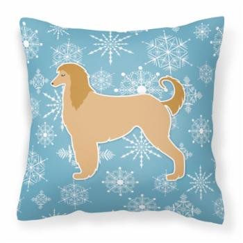Carolines Treasures Winter Snowflake Afghan Hound Square Decorative Outdoor Pillow