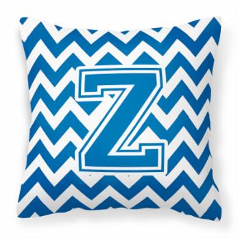 Carolines Treasures Chevron Blue and White Decorative Outdoor Pillow