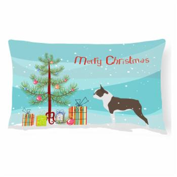 Carolines Treasures Boston Terrier Merry Christmas Tree Rectangle Decorative Outdoor Pillow