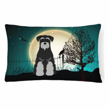 Carolines Treasures Halloween Scary Standard Schnauzer Black Gray Decorative Outdoor Pillow