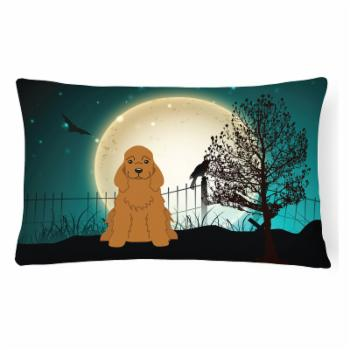 Carolines Treasures Halloween Scary Cocker Spaniel Black Decorative Outdoor Pillow