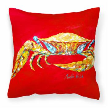 Caroline's Treasures Crab Blue on Red Sr Decorative Outdoor Pillow