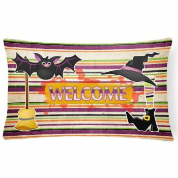 Caroline's Treasures Witch Costume and Broom on Stripes Halloween Decorative Outdoor Pillow