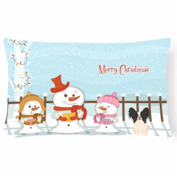 Carolines Treasures Merry Christmas Carolers Papillon Outdoor Pillow
