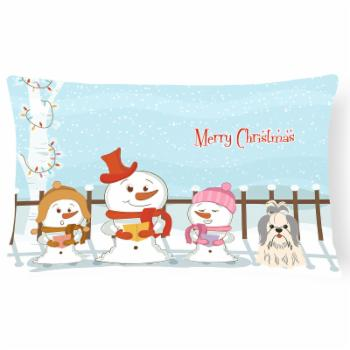Carolines Treasures Merry Christmas Carolers Shih Tzu Outdoor Pillow
