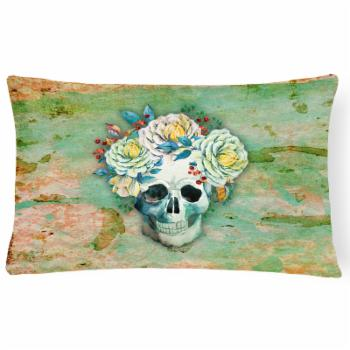 Carolines Treasures Day of the Dead Skull with Flowers Rectangle Decorative Outdoor Pillow