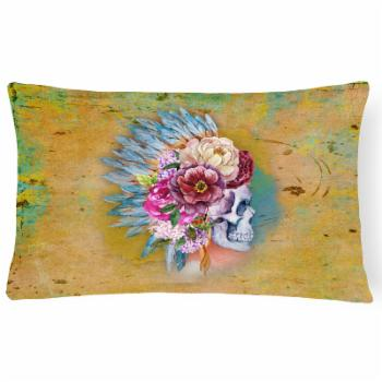 Carolines Treasures Day of the Dead Flowers Skull Rectangle Decorative Outdoor Pillow