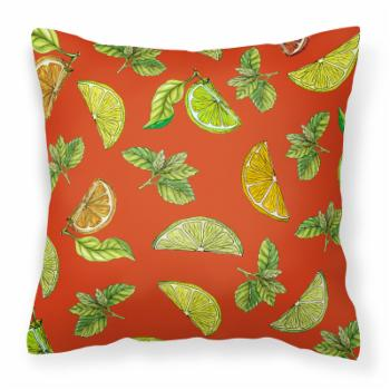 Carolines Treasures Lemons Limes and Oranges Square Decorative Outdoor Pillow
