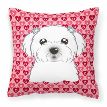Carolines Treasures Maltese Hearts Square Decorative Outdoor Pillow