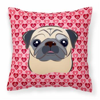 Carolines Treasures Fawn Pug Hearts Square Decorative Outdoor Pillow