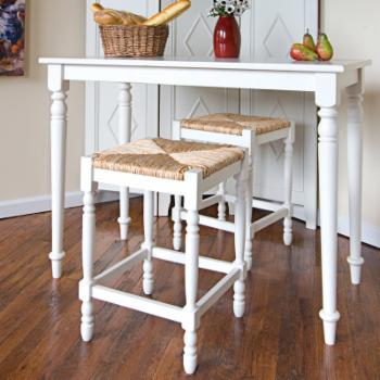 Carolina Gilbert 24 in. Counter Stool - Antique White with Rush Seat