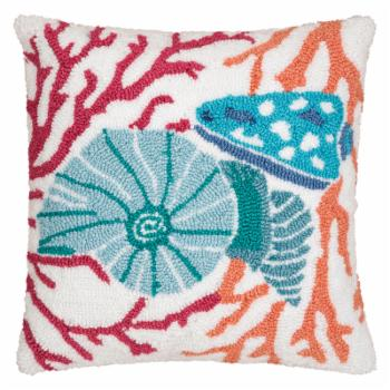 C&F Home Shell Hooked Decorative Pillow