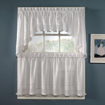CHF Industries Crochet Tiered Kitchen Curtain - One Pair
