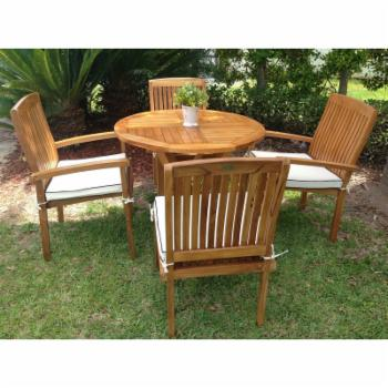 Chic Teak Belize 5 Piece Patio Bistro Set with Optional Cushions