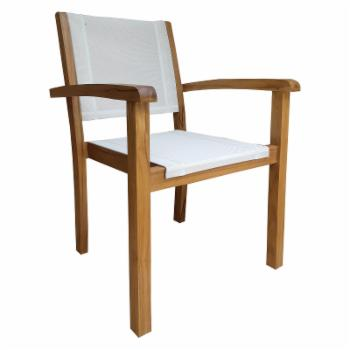 Chic Teak Las Palmas Outdoor Stacking Arm Chair with Batyline Sling
