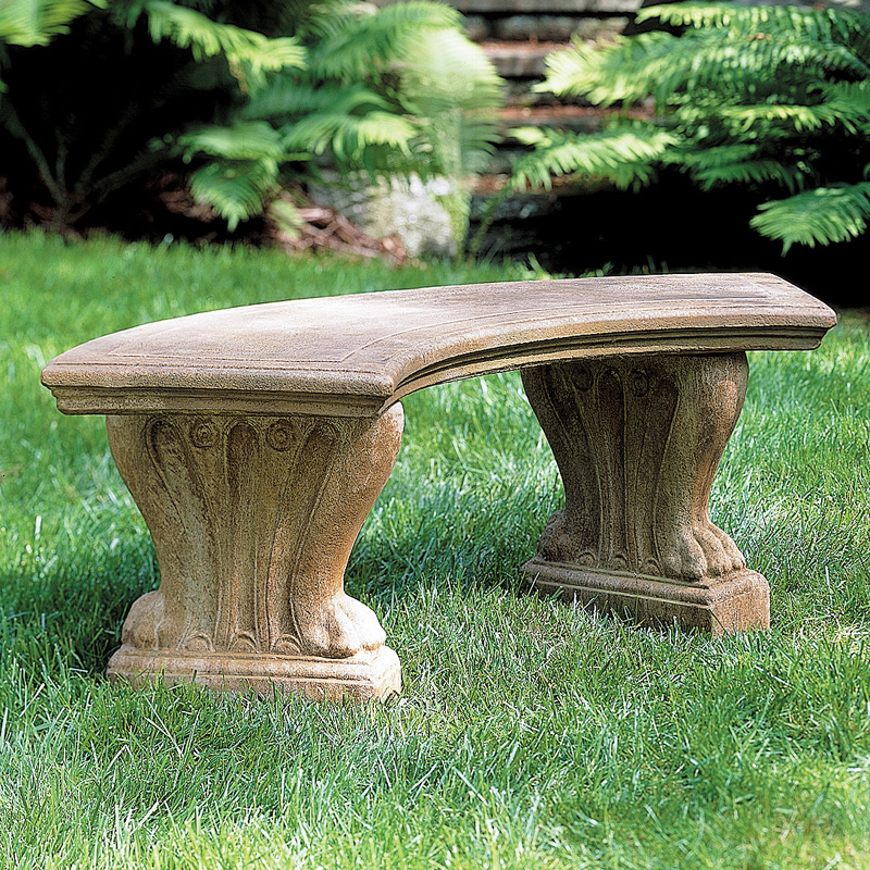 Campania International Curved Westchester Cast Stone Backless Garden Bench    Outdoor Benches At Hayneedle