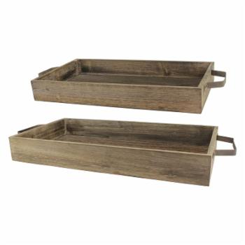 CKK Home Decor Rustic Wood and Metal Trays - Set of 2