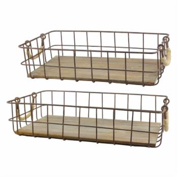 CKK Home Decor Wire and Wood Baskets - Set of 2