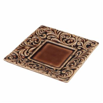Stonebriar Collection Ceramic Tooled Leather Square Plate