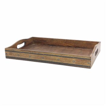 Stonebriar Collection Rectangular Wooden Tray with Black Metal Trim and Rivets