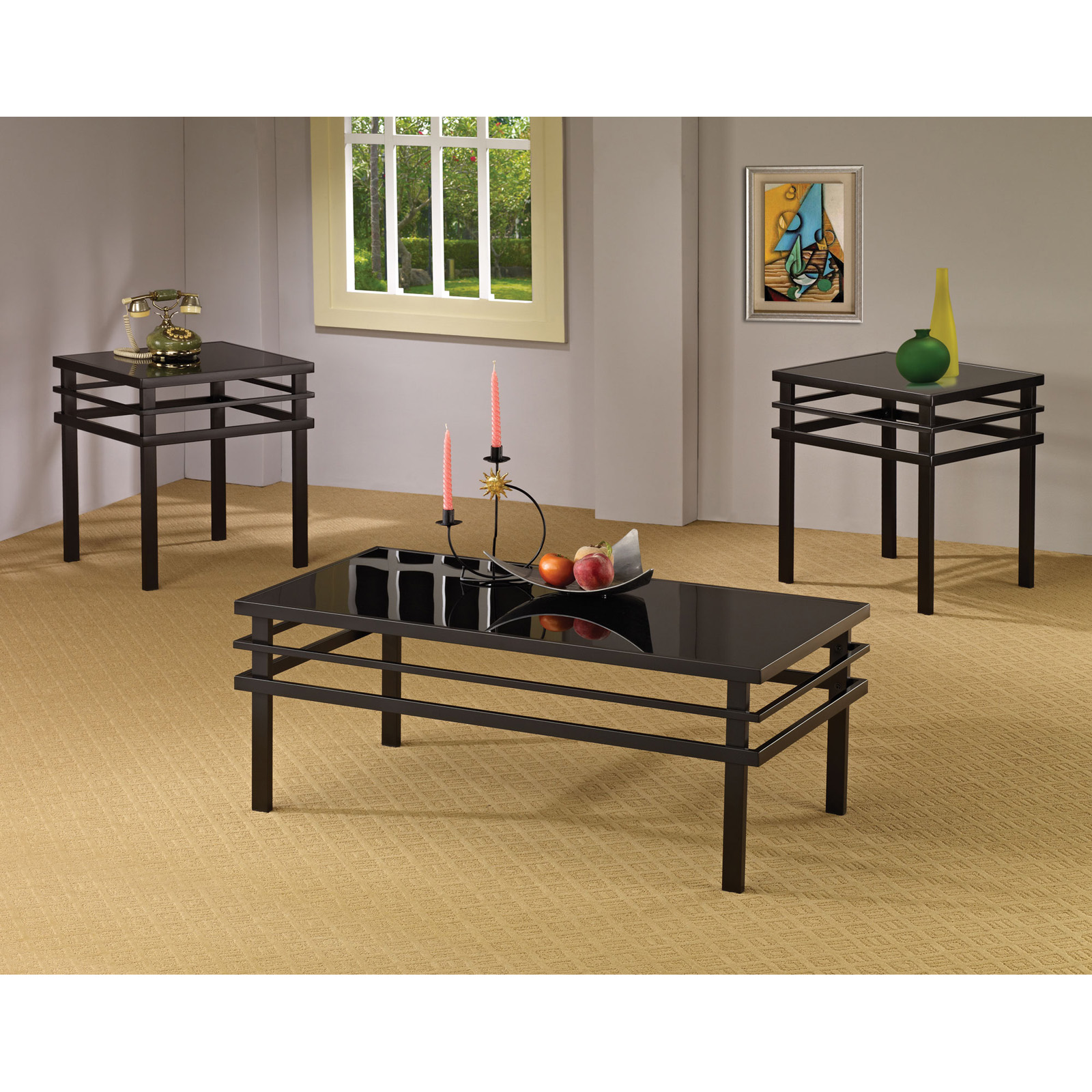 Coaster Furniture 3 Piece Glass Top Coffee Table Set Black