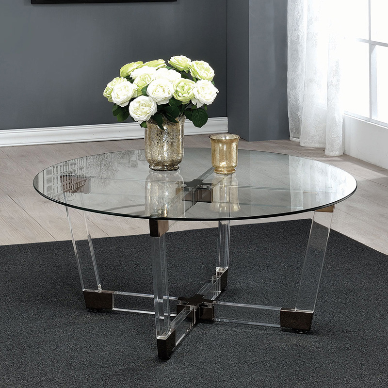 Coaster Furniture Glass Top Coffee Table Satin Nickel Hayneedle - Clear acrylic cocktail table