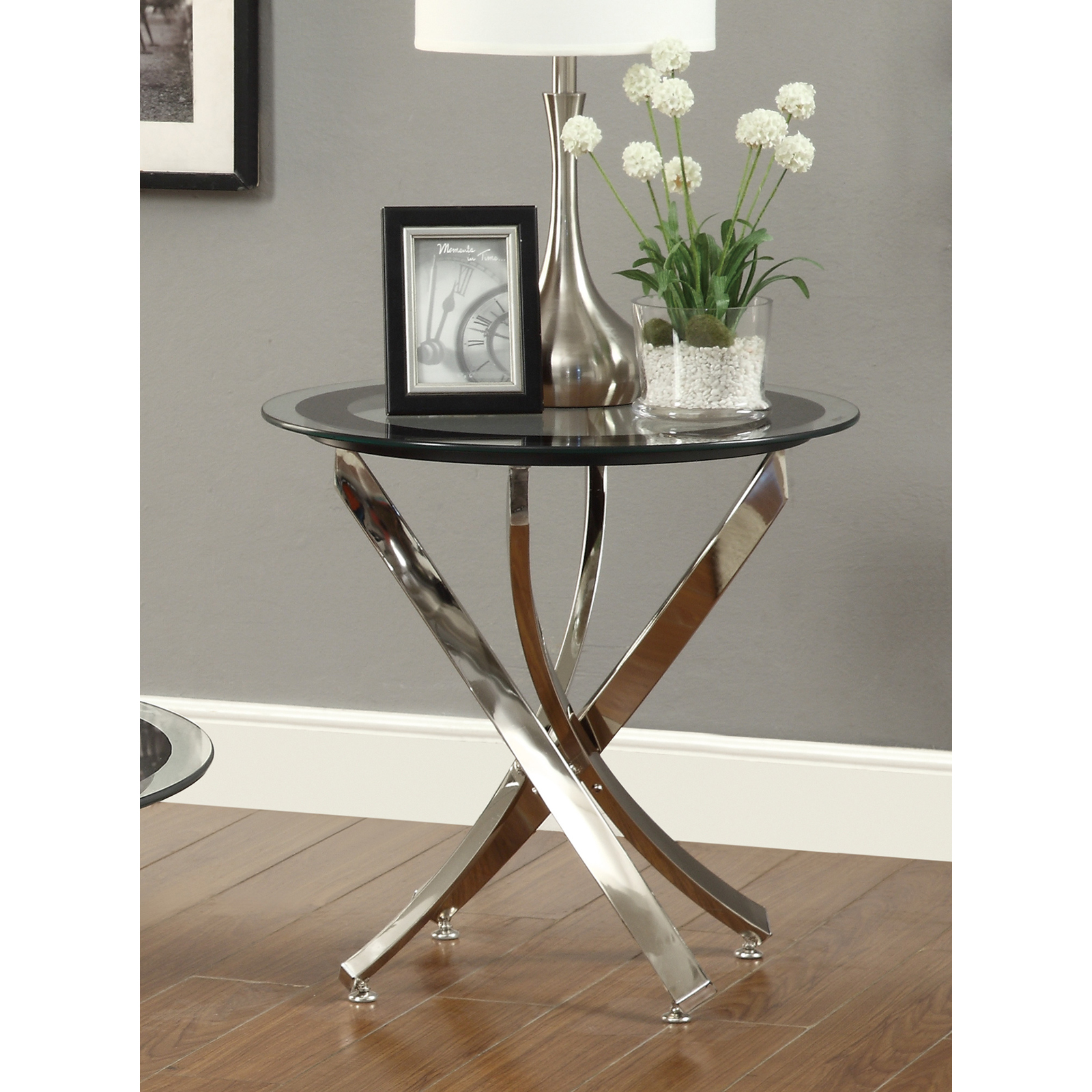 Coaster Furniture Round Glass Top End Table   Chrome