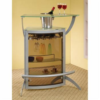 Coaster Furniture Glass Top Home Bar with Foot Rail and Storage