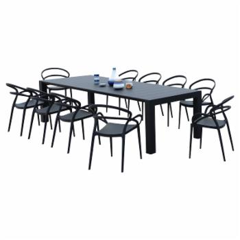 Compamia Mila Polypropylene 11 Piece Patio Dining Set with Extendable Table