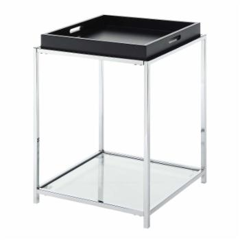 Convenience Concepts Palm Beach Square Metal and Glass End Table with Removable Tray