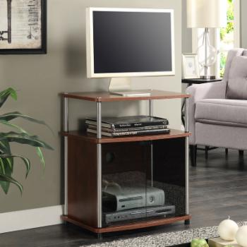 Convenience Concepts TV Stand with Black Glass Cabinet