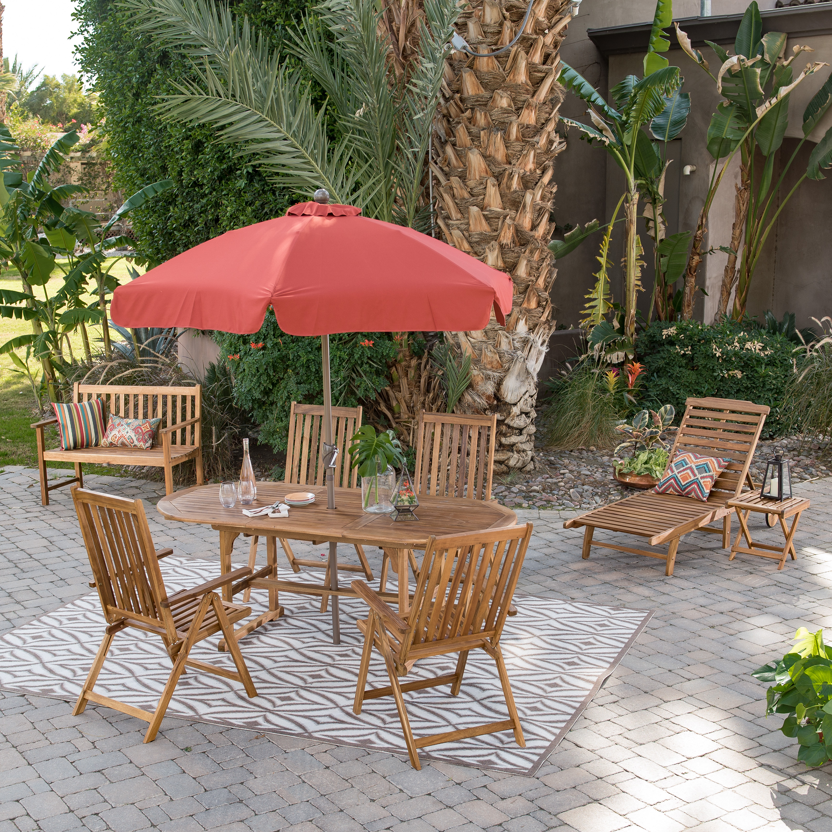 Coral Coast Summer Acacia Wood 8 Piece Patio Dining Set
