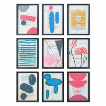 Sprinkle & Bloom Wood Framed Art Deco Wall Art - Set of 9