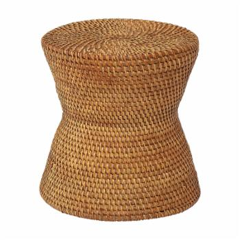 Brown Handwoven Rattan End Table by Sprinkle & Bloom