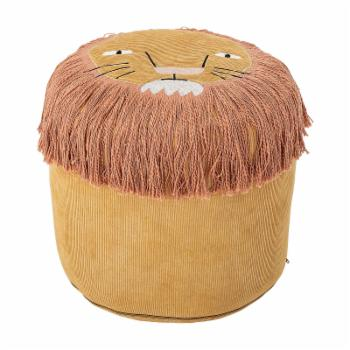 Lions Face Mustard Yellow Cotton Corduroy Kids Pouf by Sprinkle & Bloom
