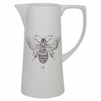 3R Studios White Ceramic Pitcher with Bee Image