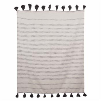 3R Studios Cream Cotton Woven Throw with Grey Stripes and Tassels