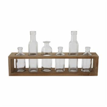 3R Studios 7 Piece Glass Bottles in Wood Holder