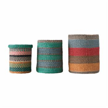 3R Studios Bright Stripes Handwoven Abaca Basket - Set of 3
