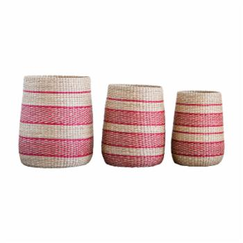 3R Studios Striped Woven Seagrass Basket - Set of 3